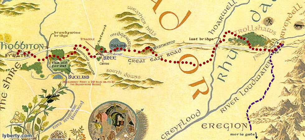 A Readers Map to The Fellowship of the Ring – Lord of the Rings Detailed Map