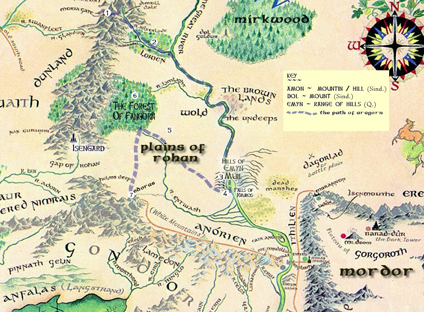 A Readers Map to The Two Towers – Lord of the Rings Detailed Map
