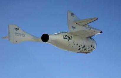 SpaceShipOne descends to earth during the                                                                                                                                                                                                                                                                                                                                                                                                                                                                                                                                                                                                                                                                                                                                                                                                                                                                                                                                                                                                                                                                 		historic flight beyond Earth's atmosphere, over the Mojave Airport in California, June 21, 2004.                                                                                                                                                                                                                                                                                                                                                                                                                                                                                                                                                                                                                                                                                                                                                                                                                                                                                                                                                                                                                                                                 		SpaceShipOne, the first privately-funded rocket plane, flew to outer space and into history books on                                                                                                                                                                                                                                                                                                                                                                                                                                                                                                                                                                                                                                                                                                                                                                                                                                                                                                                                                                                                                                                                 		Monday after blasting 62 miles above the earth, marking the world's first manned commercial space flight.                                                                                                                                                                                                                                                                                                                                                                                                                                                                                                                                                                                                                                                                                                                                                                                                                                                                                                                                                                                                                                                                 		The flight marked the first time that a non-government spacecraft reached the altitude considered the boundary                                                                                                                                                                                                                                                                                                                                                                                                                                                                                                                                                                                                                                                                                                                                                                                                                                                                                                                                                                                                                                                                 		between earth's atmosphere and outer space. (Jim Campbell, Pool/Reuters)